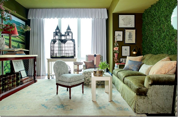 faux greenery accent wall